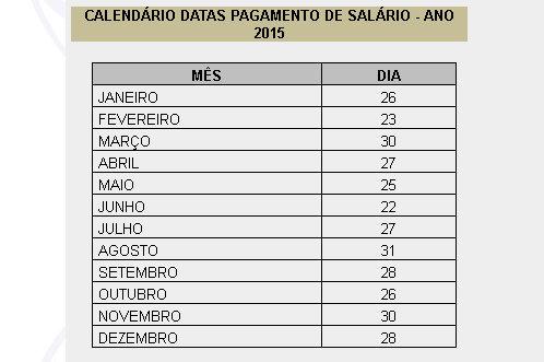 Calendário de pagamento 2015 - Prefeitura Municipal de Salvador